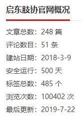 【祝贺】启东肢协官方网站成功运行500天,浏览量突破10万